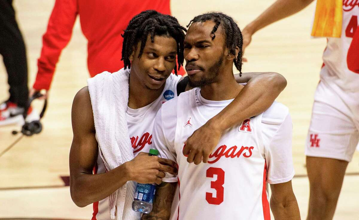 Tramon Mark, with DeJon Jarreau (3) after Houston's opening win over Cleveland State, will be counted on for more minutes against Rutgers if Jarreau can't play because of a hip injury.
