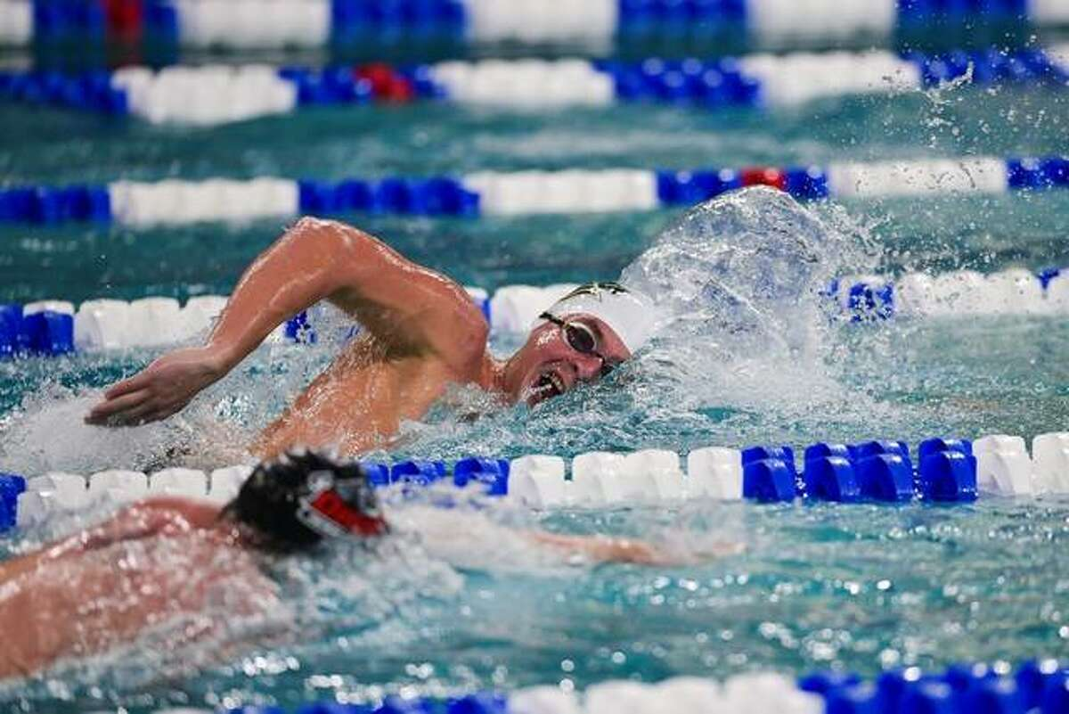Matthew Daniel of St. Leo University, a junior from Alton, swims in the 1650 freestyle Saturday at the NCAA Division II Swim Nationals in Birmingham, Ala. Daniel finished seventh.