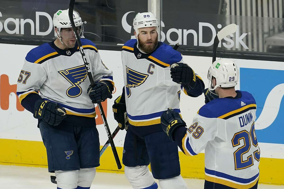 St. Louis Blues center Ryan O'Reilly (center) scored on a power play after the Sharks were penalized for a faceoff violation.