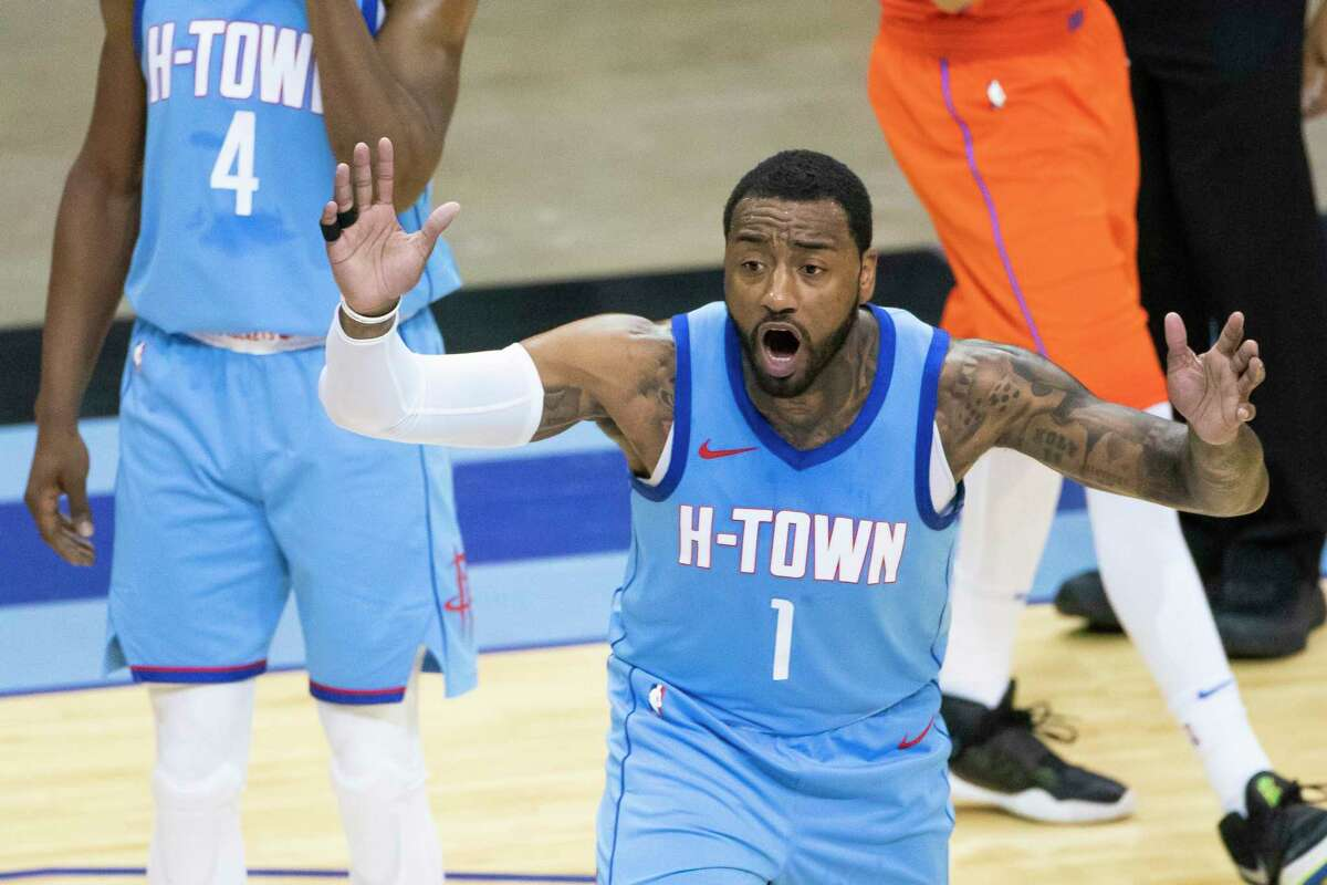 Houston Rockets guard John Wall (1) reacts to a call during the first quarter of an NBA game between the Houston Rockets and Oklahoma City Thunder on Sunday, March 21, 2021, at Toyota Center.