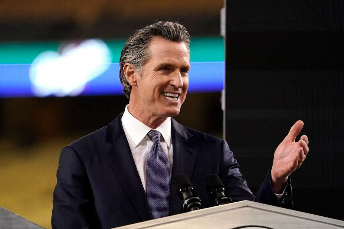 California Gov. Gavin Newsom delivers his State of the State address from Dodger Stadium in Los Angeles this month.