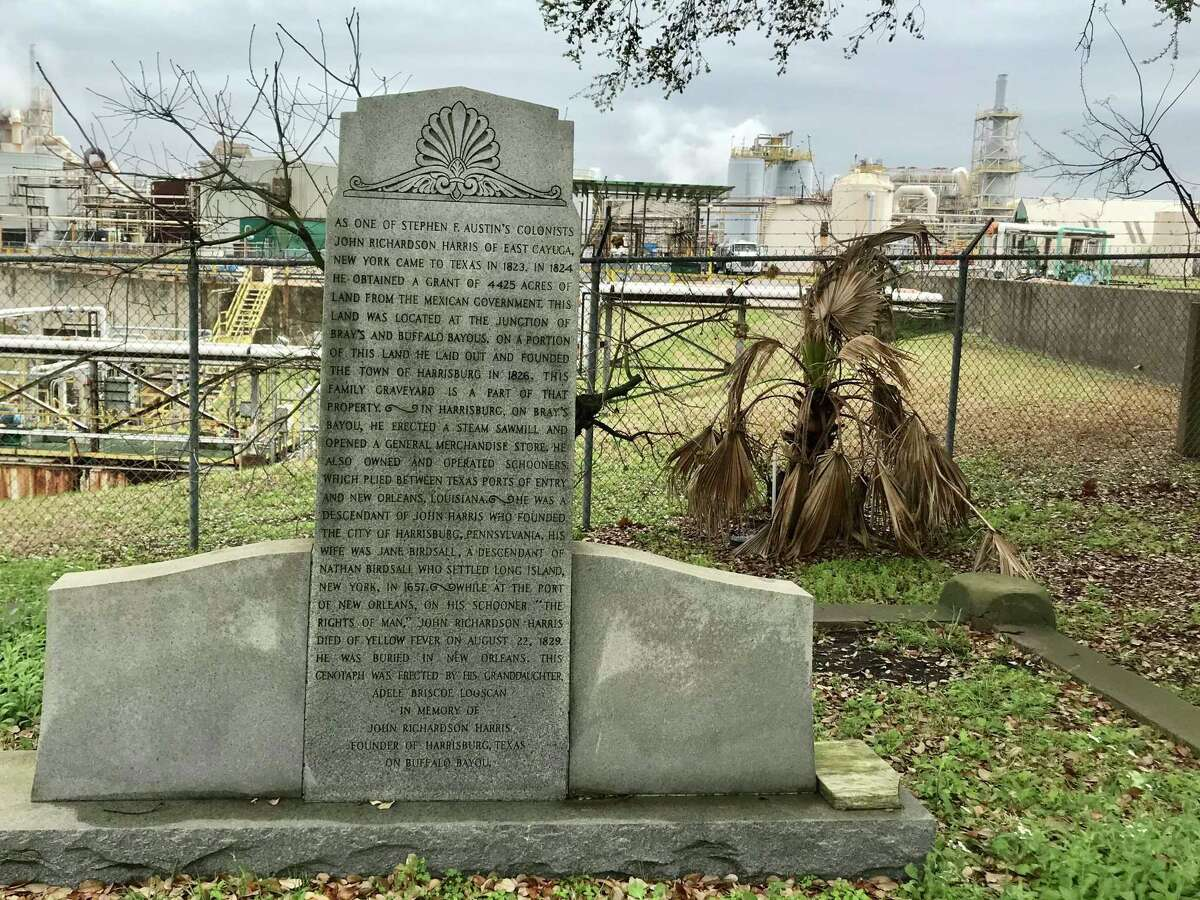 The marker in honor of John Richardson Harris was erected by his grandaughter, Adele Briscoe Looscan, a charter member of the Daughters of the Republic of Texas (DRT). Harris was buried in New Orleans.