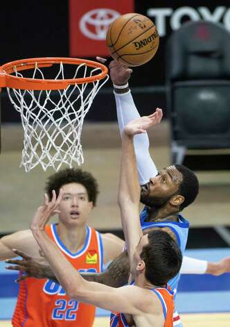 Houston Rockets guard John Wall (1) shoots during the third quarter of an NBA game between the Houston Rockets and Oklahoma City Thunder on Sunday, March 21, 2021, at Toyota Center in Houston, TX. Photo: Mark Mulligan, Staff Photographer / © 2021 Mark Mulligan / Houston Chronicle