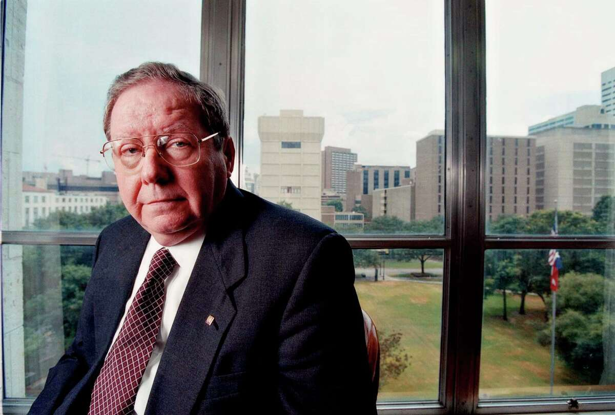 President, CEO and COO of the Texas Medical Center in Houston Richard Wainerdi, poses for a picture in a board room with a view of the Texas Medical Center, Tuesday, Aug. 24, 1999. (Photo by Michael Stravato)