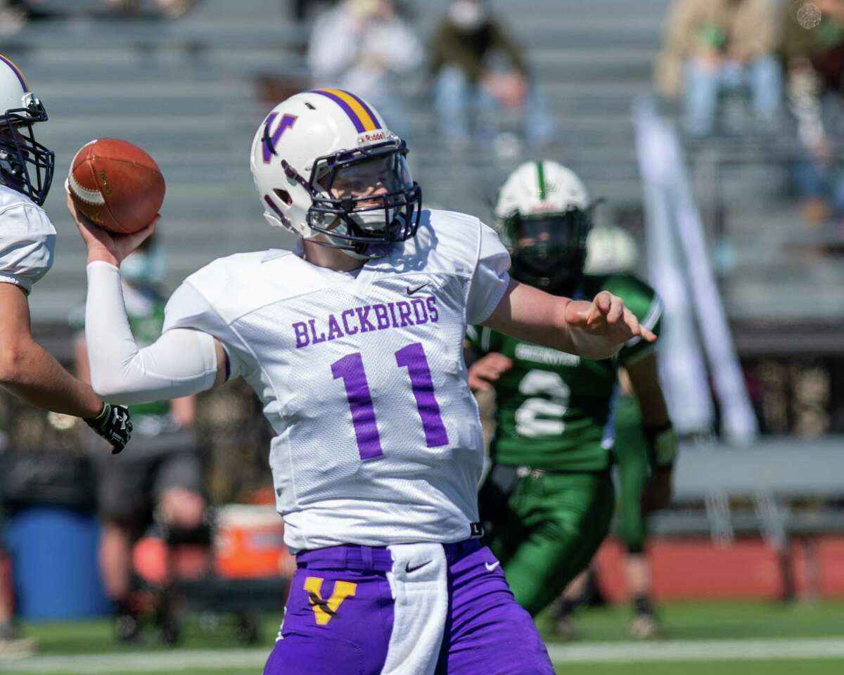 Voorheesville quarterback Ryan Conley looks to pass during a game against Greenwich at Stillwater High School in Stillwater, NY, on Sunday, March 21, 2021 (Jim Franco/special to the Times Union.)