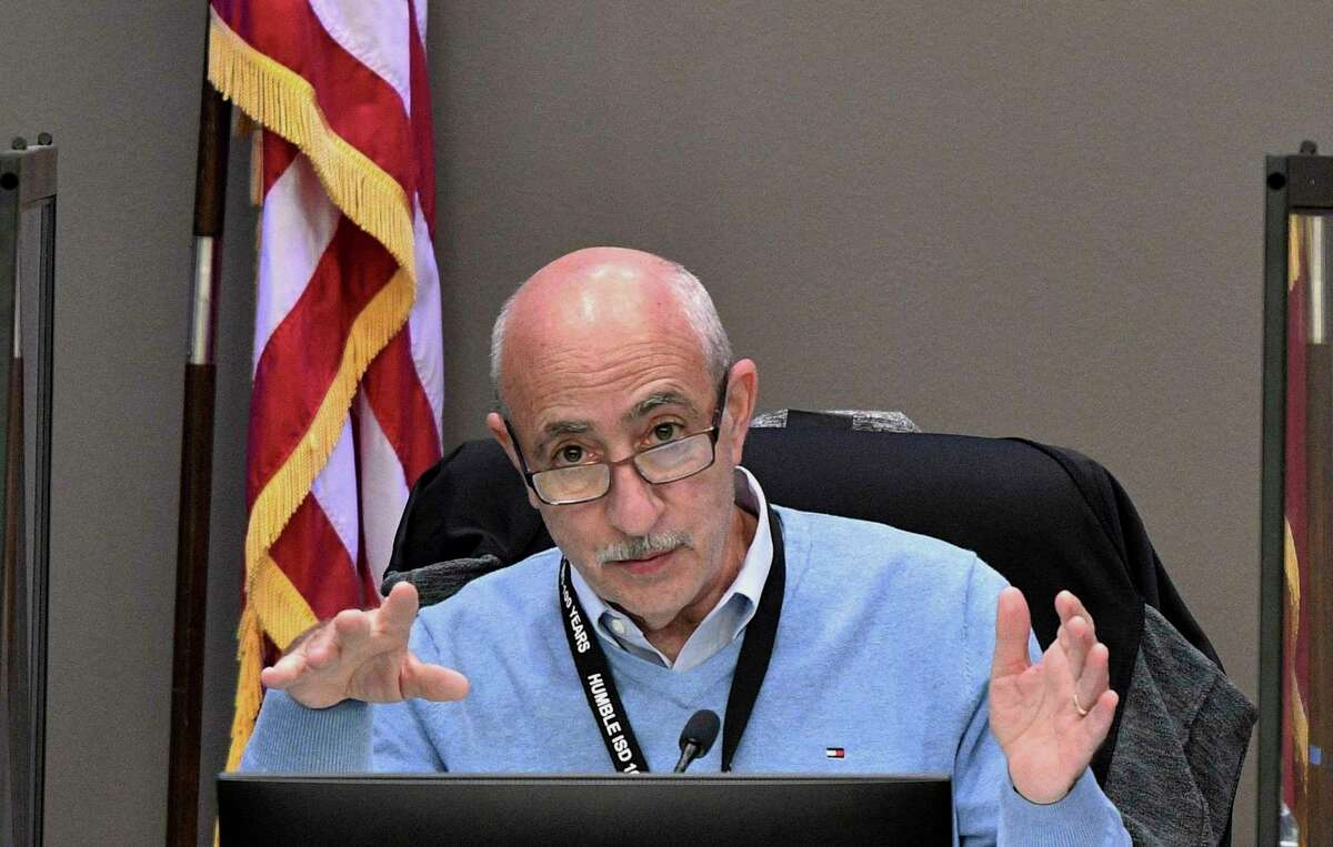 Board Member Robert Scarfo assures members of the community attending the board meeting and those viewing via live stream that the Humble ISD board will not leave it up to the parents and community to make the decision for the district in light of Gov. Abbott's executive order in Humble, TX on March 9, 2021.