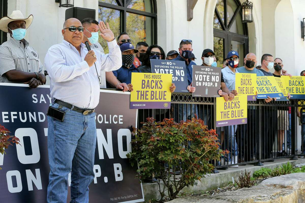Danny Diaz, president of the San Antonio Police Officers Association, speaks at a rally Sunday against Proposition B on the May 1 ballot, which would roll back police officers' right to bargain collectively.
