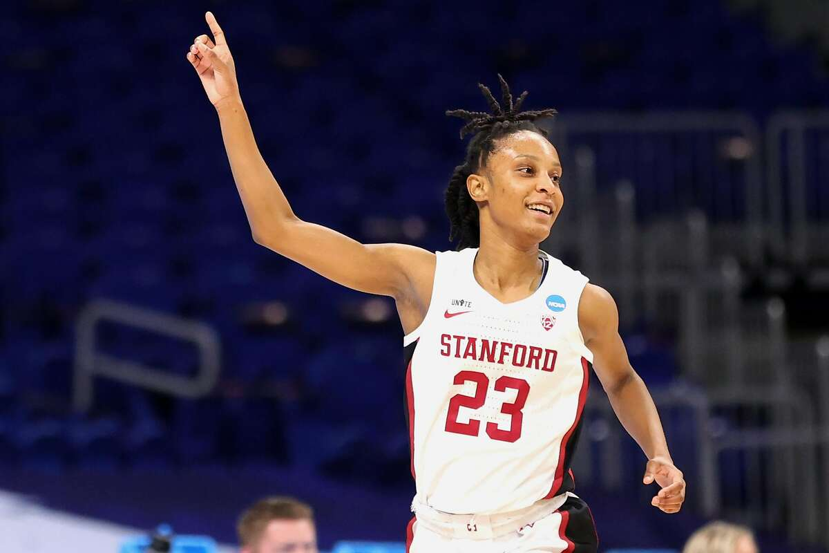 Stanford guard Kiana Williams reacts to one of her six 3-point buckets during the Cardinal's rout over Utah Valley.