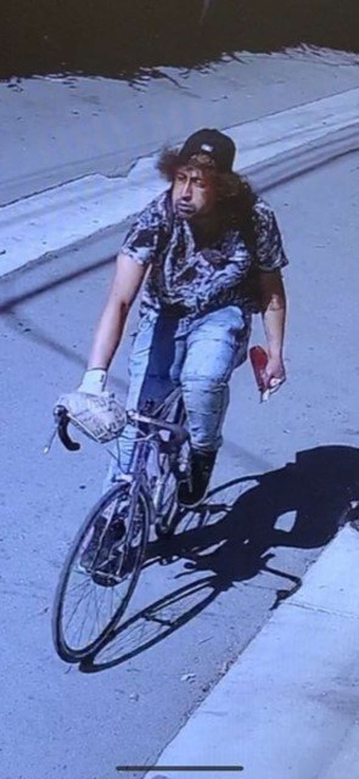 The suspect in a vehicle arson was last seen riding his bicycle southbound on Rolision Alley toward Marsh Road.