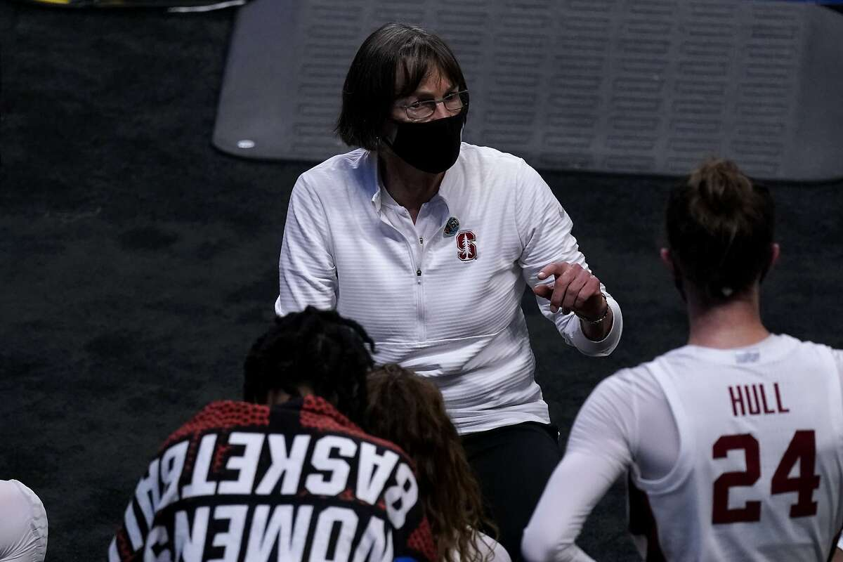 Stanford head coach Tara VanDerveer talks to her players during the second half of Sunday's first-round NCAA Tournament game against Utah Valley.
