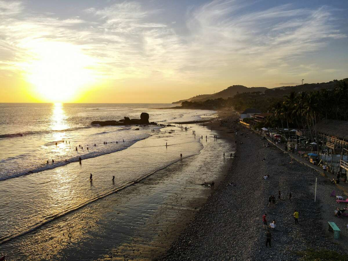 Areal view of beachgoers at El Tunco Beach on December 13, 2020 in San Salvador, El Salvador. According to Salvadoran Government, the country has over 41,000 confirmed cases of Covid and 1,200 deceases.