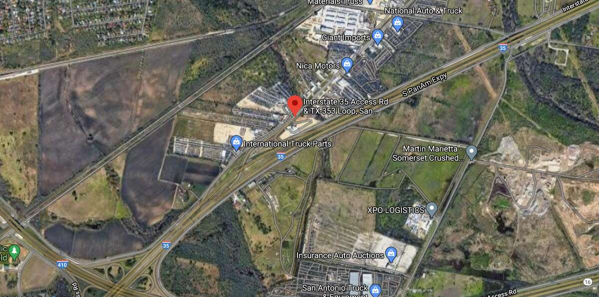 A Von Ormy police officer was hospitalized after a fiery crash early Saturday morning. The map shows the approximate location of the incident.