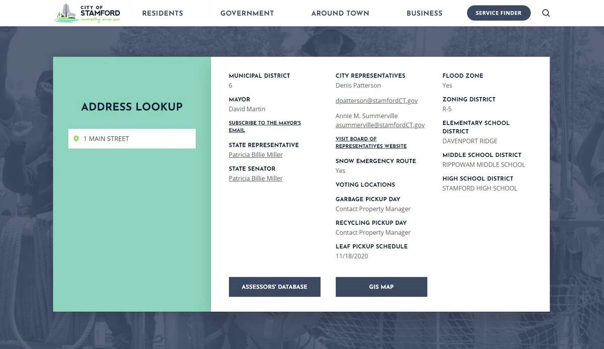 """The city of Stamford's newly redesigned website includes an """"address lookup"""" feature, which is mostly aimed at new residents. After they type in their address, they can see information about their local and state representatives, school districts and trash pickup days, among other things."""