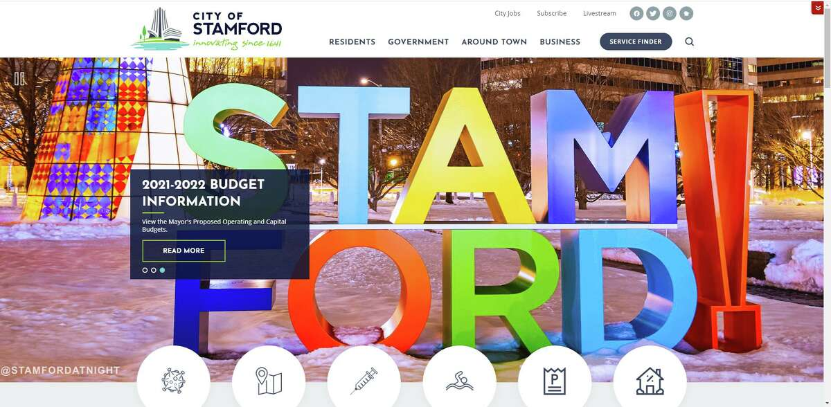 The City of Stamford's newly redesigned website.