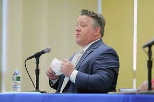 Albany County Executive Dan McCoy talks about Covid-19 cases during a press conference on Monday, March 22, 2021, in Albany, N.Y.    (Paul Buckowski/Times Union)