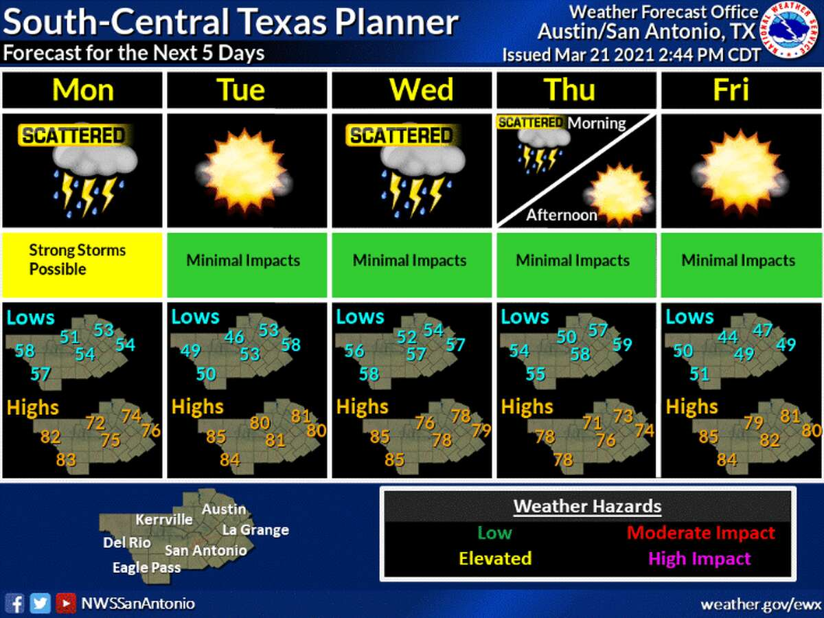 San Antonio is in for a wet week, with up to a half-an-inch of rain possible, according to the National Weather Service.