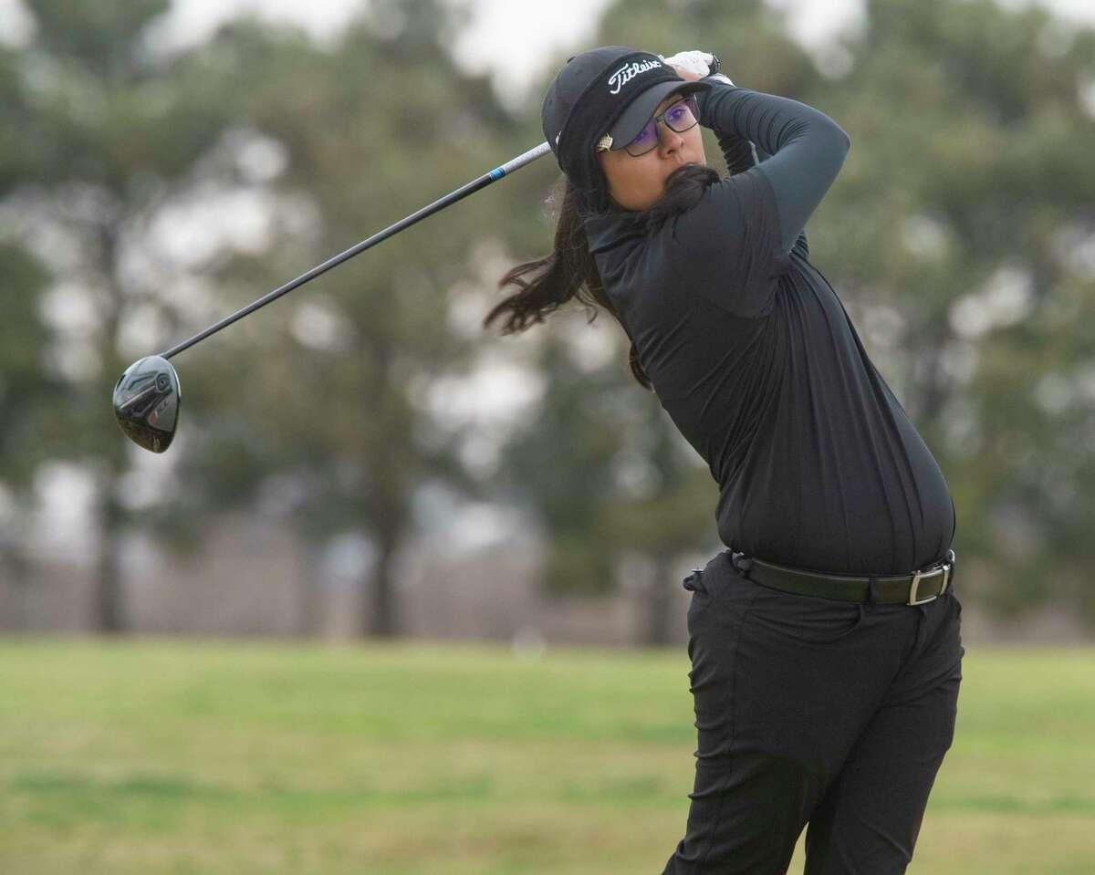 Midland High's Anaya Perales follows her shot 03/22/21 during the District 2-6A tournament at Ranchland Hills Golf Club. Tim Fischer/Reporter-Telegram