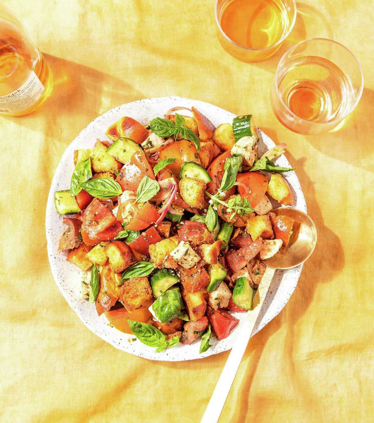 """Challah Panzanella salad recipe from """"Jew-ish: Reinvented Recipes from a Modern Mensch"""" by Jake Cohen."""
