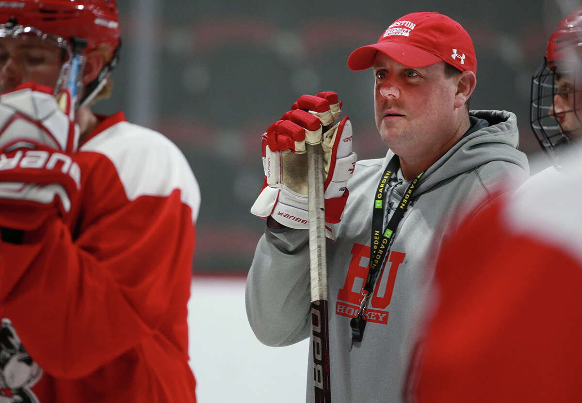 BOSTON, MA - OCTOBER 9: Boston University's new men's hockey coach Albie O'Connell is pictured during practice at Agganis Arena in Boston on Oct. 9, 2018. (Photo by Matthew J. Lee/The Boston Globe via Getty Images)