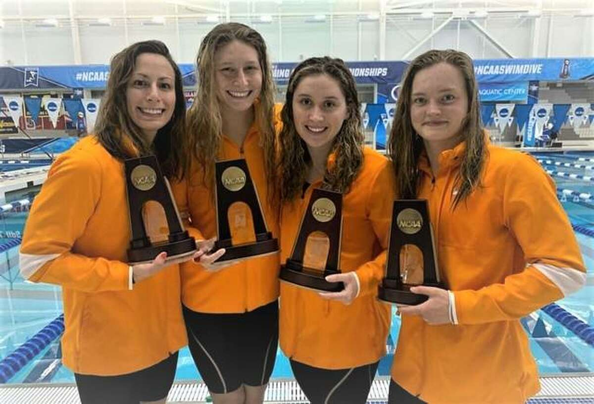 Edwardsville High grad Bailey Grinter, second from left, helped the University of Tennessee Lady Vols 400-yard freestyle relay team finish fifth at the NCAA Division I Nationals in Greensboro, N.C. It was the last race of Grinter's career. She is a former Telegraph Swimmer of the Year, Illinois state champion and standout for the Edwardsville Breakers. From left are Mona McSharry, Grinter, Trude Rothrock and Tjasa Pintar.