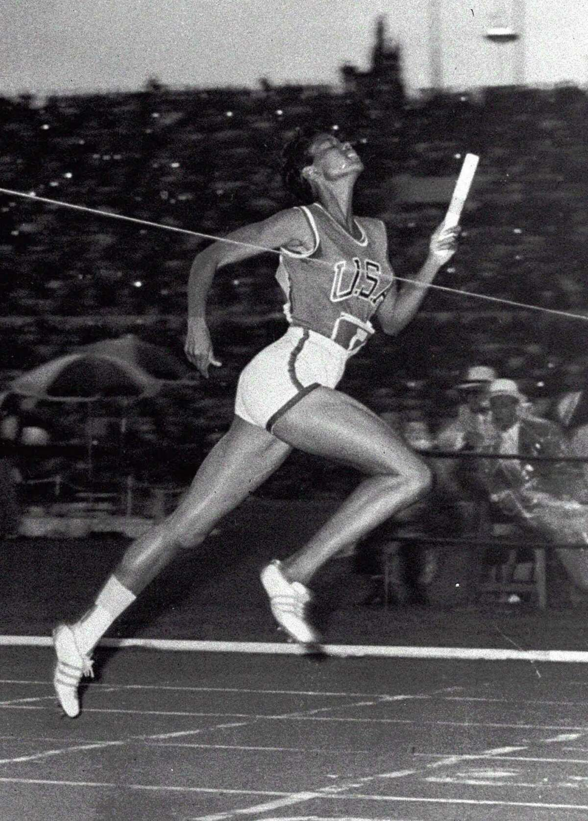 Wilma Rudolph, 20, hits the tape to win the 4x100 meter relay for the United States at the Summer Olympics in Rome in 1960. She was the fastest woman of her era.