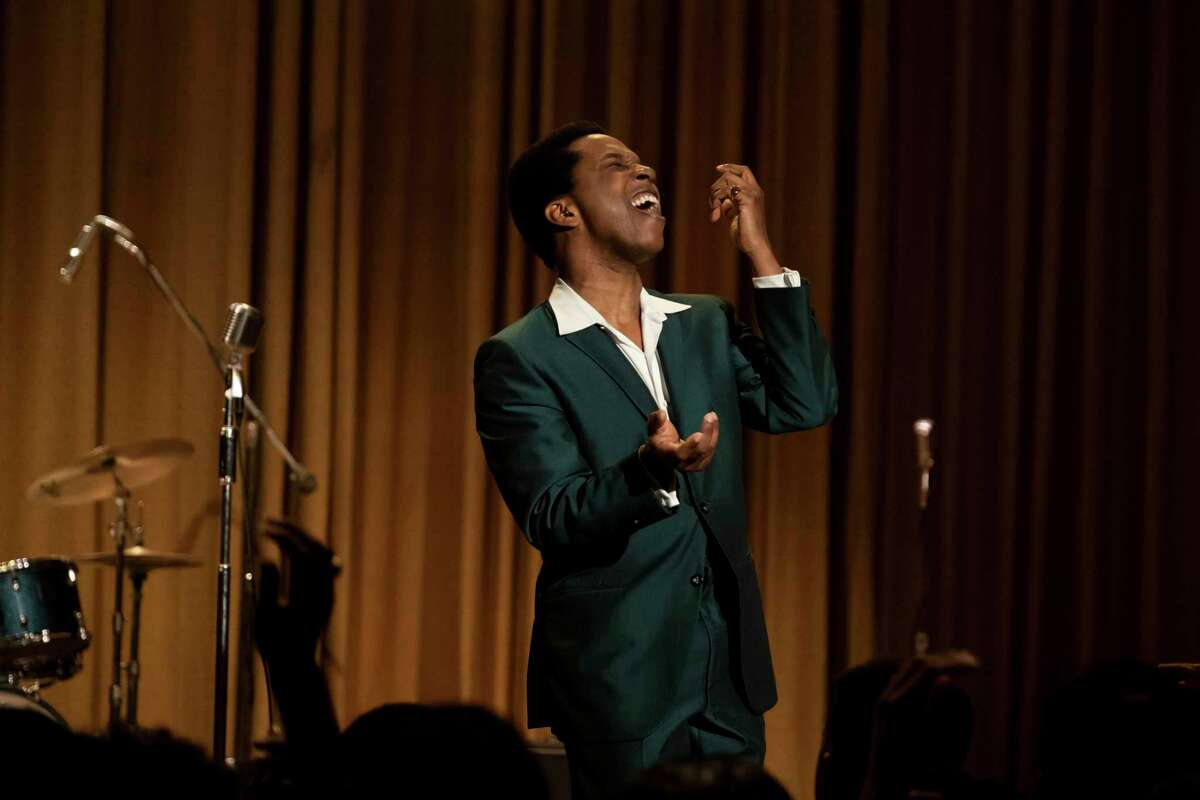 """""""One Night in Miami..."""" ends with a performance by Sam Cooke, portrayed by Leslie Odom Jr. (Patti Perret/Amazon Studios/TNS)"""