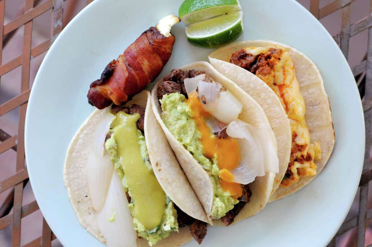 Tacos made with rib-eye steak from the San Antonio delivery-based restaurant Tu Asador 210