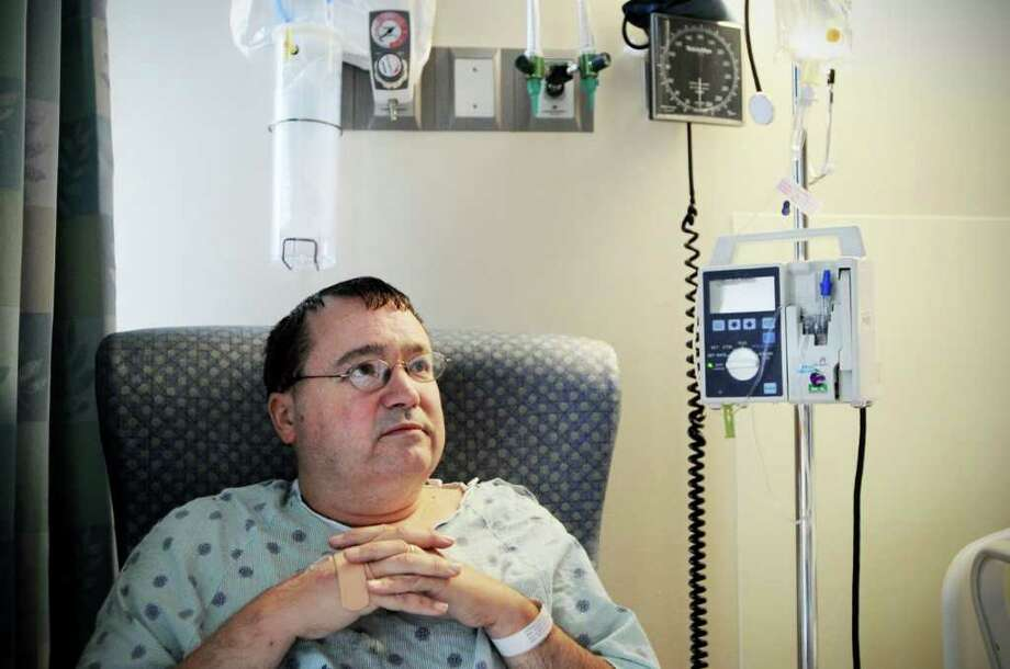 David Kennedy sits in the corner of his hospital room.  Kennedy contracted West Nile Virus last month and has spent a significant amount of time in Stamford Hospital recovering in Stamford, Conn. on Thursday September 9, 2010. Photo: Kathleen O'Rourke / Stamford Advocate