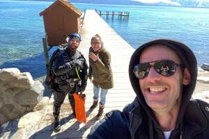 Phill Abernathy, of the Tahoe Scuba Diving Facebok group, moments after he found Andrew and Marlee Kent's wedding ring.