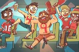 An illustration of 49ers fans en route to Candlestick Park.