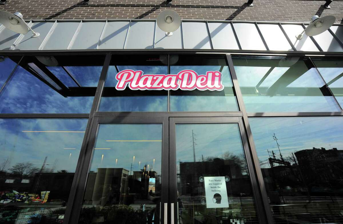 An exterior view of Plaza Deli & Catering in the SoNo section of Norwalk, Conn., on Friday Mar. 19, 2021. Owner Ralph Gencarelli received a $5,000 donation from another local business to help him weather the COVID-19 pandemic.