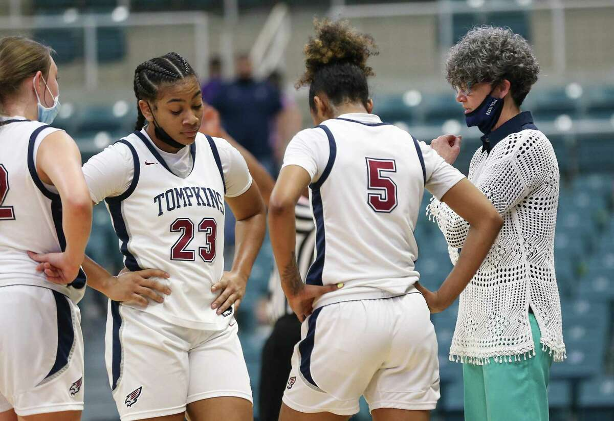 Tompkins Falcons head coach Tamatha Ray talks to her team during a time out of the regional semi-finals against Shadow Creek Sharks at Merrell Center in Katy on Saturday, Feb. 27, 2021. Shadow Creek won the game.