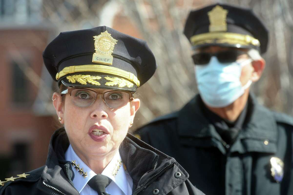 Acting Police Chief Rebeca Garcia speaks during a news conference in front of Police Headquarters, in Bridgeport, Conn. Feb. 24, 2021. It was announced that Bridgeport police will begin a thirty-day training session with the ATF's National Integrated Ballistic Information Network (NIBIN) mobile van.