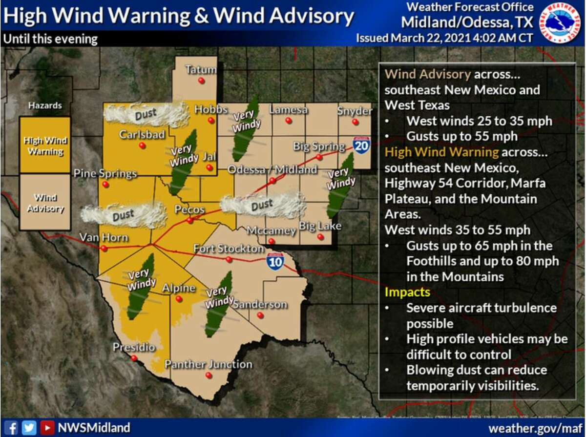 A High Wind Warning and Wind Advisory is in effect for southeast New Mexico and West Texas today. Winds could be hazardous for high profile vehicles making them difficult to control. Blowing dust may temporarily lower visibilities.