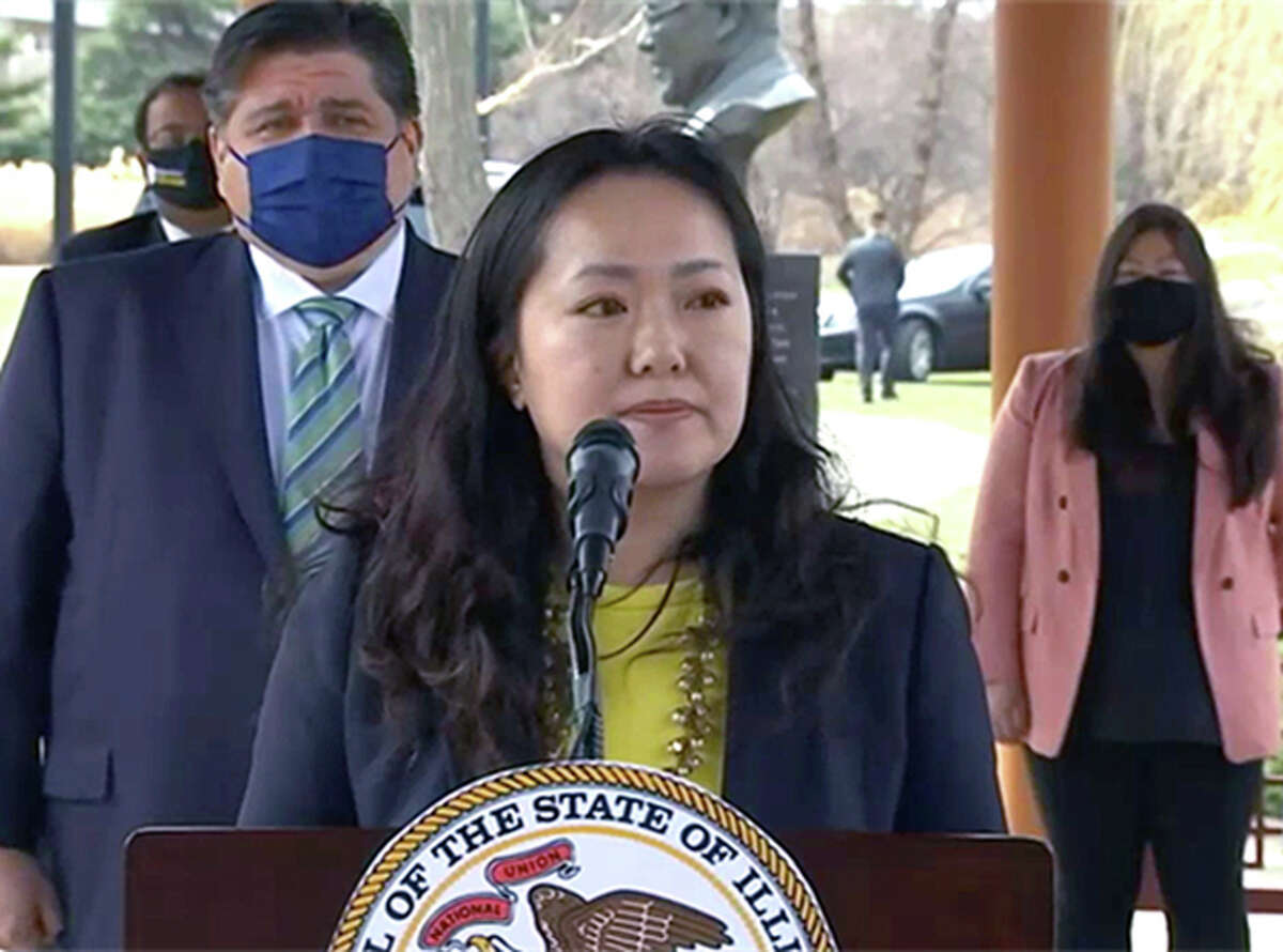 Rep. Janet Yang Rohr, a Democrat from Naperville, speaks Monday at a news conference with Gov. J.B. Pritzker and other members of the General Assembly's Asian American Caucus in the aftermath of a gunman killing eight people, including six women of Asian descent, last week in Atlanta.