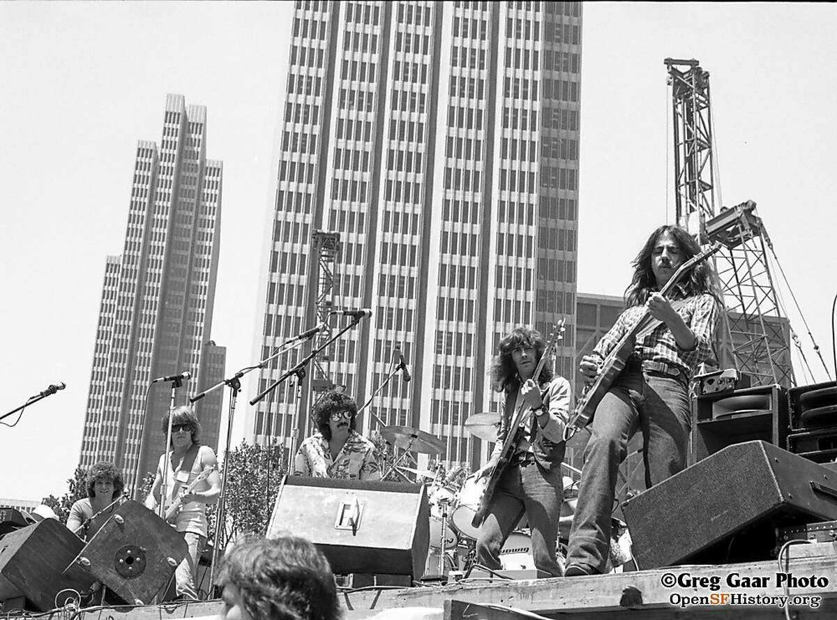 Jefferson Starship performs in Justin Herman Plaza in San Francisco on June 1, 1979, as taken by music photographer Greg Gaar. Gaar has contributed more than 1,000 historic images of San Francisco and Bay Area rock concerts to the Western Neighborhoods Project's OpenSFHistory site.