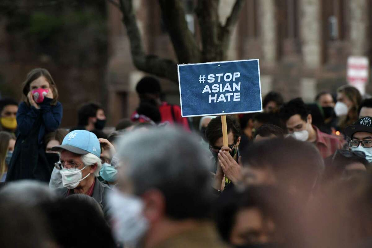 Hundreds gathered in Academy Park for a rally to draw attention to a nationwide increase in hate crimes against Asian Americans and Pacific Islanders on Monday, March 22, 2021, in Albany, N.Y. The rally comes on days after a gunman slaughtered eight people - including six women of Asian descent - in massage businesses around Atlanta and as local people from those communities said they fear an increase in threats and violence tied to xenophobic responses to the coronavirus. (Will Waldron/Times Union)