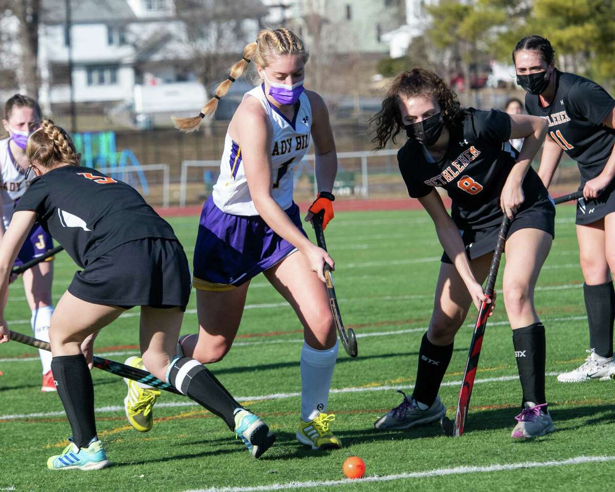 The senior star finished with three goals and one assist to lead the Lady Bills past Bethlehem 8-0. Here, Ringer splits the Bethlehem defense during the game.