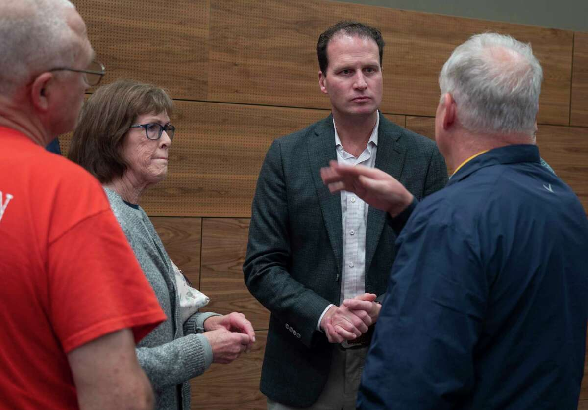 U.S. Rep August Pfluger talks with constituents 03/22/21 following a town hall meeting at the Bush Convention Center. Tim Fischer/Reporter-Telegram