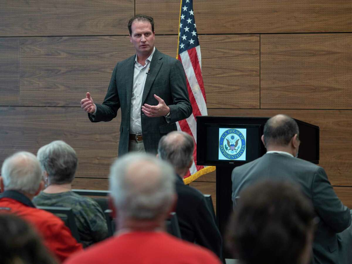 U.S. Rep August Pfluger talks with constituents 03/22/21 during a town hall meeting at the Bush Convention Center. Tim Fischer/Reporter-Telegram