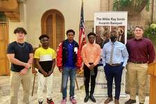 Jaice Beck (left), Ernest Ceasar, Bryce Anderson, Jah'Mar Sanders, De'Anthony Gatson and Ayden Bell pose for a picture after the Willie Ray Smith finalists were announced Monday.