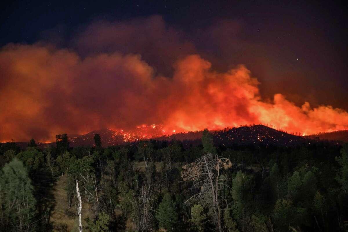 The Zogg Fire burns on Clear Creek Road near Igo on Sept. 28, 2020.