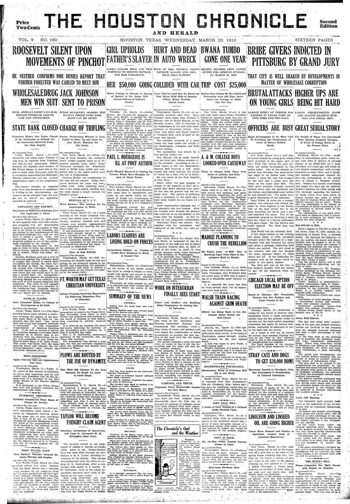 Houston Chronicle front page from March 23, 1910.