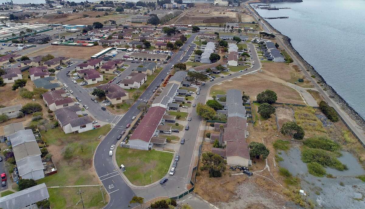 Treasure Island, seen in an aerial view, has one of San Francisco's lowest coronavirus vaccination rates, and will get its first mobile vaccine outreach to try and improve that rate.