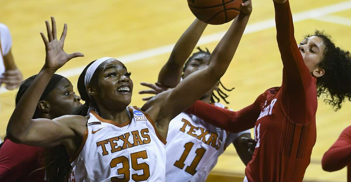 Charli Collier of Texas rebounds against Bradley during the first round of the NCAA Division I Women's Basketball Tournament in San Marcos on Monday, March 22, 2021. She scored 23 points and had 15 rebounds in an 81-62 victory.