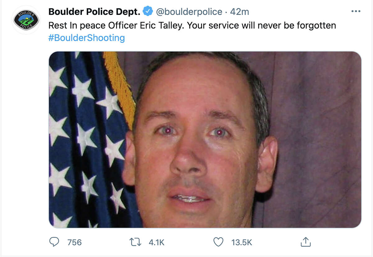 This tweet posted by the Boulder Police Department late Monday, March 22, 2021, shows Officer Eric Talley. Police say multiple people have been killed in a shooting at a supermarket in Boulder, Colo., including Talley. (Boulder Police Department via AP)