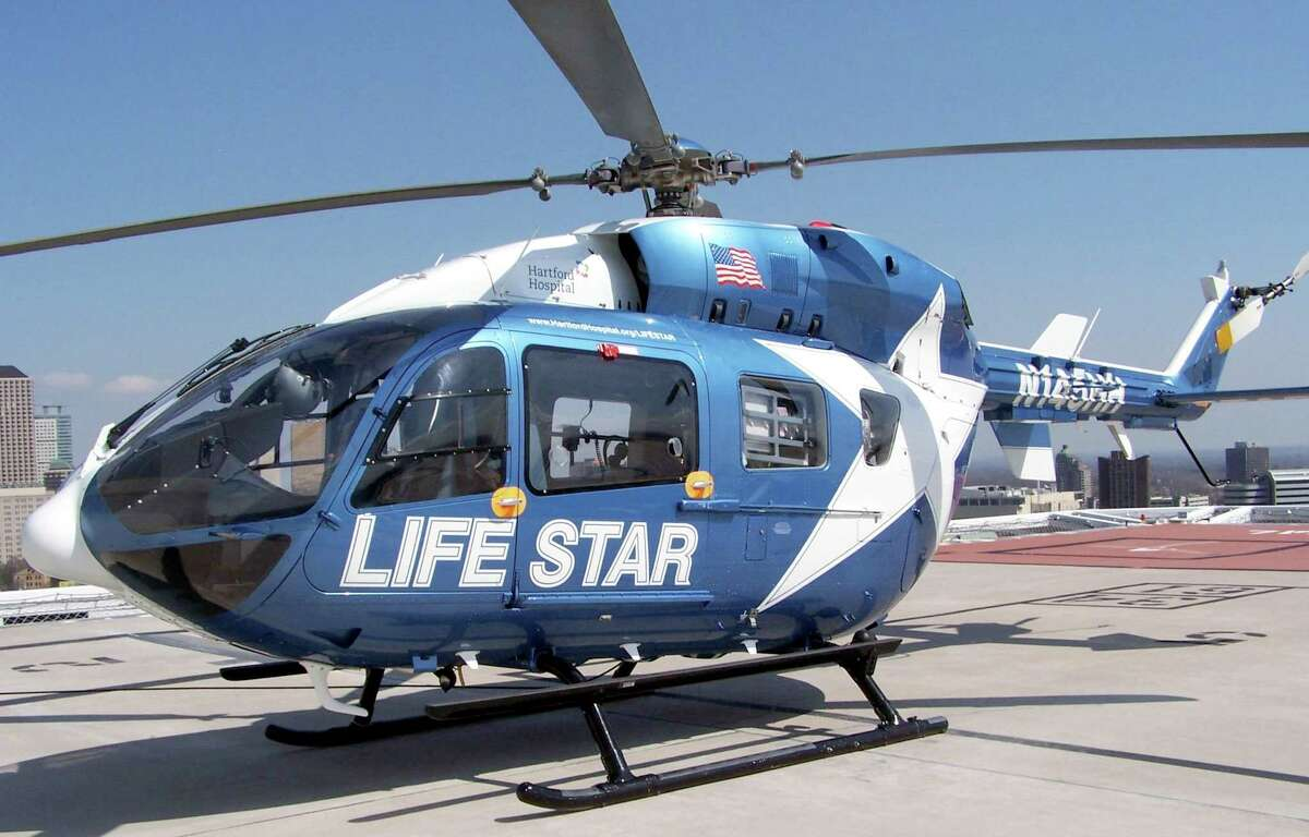 A file photo of a LifeStar helicopter on the helipad at Hartford Hospital in Hartford, Conn.