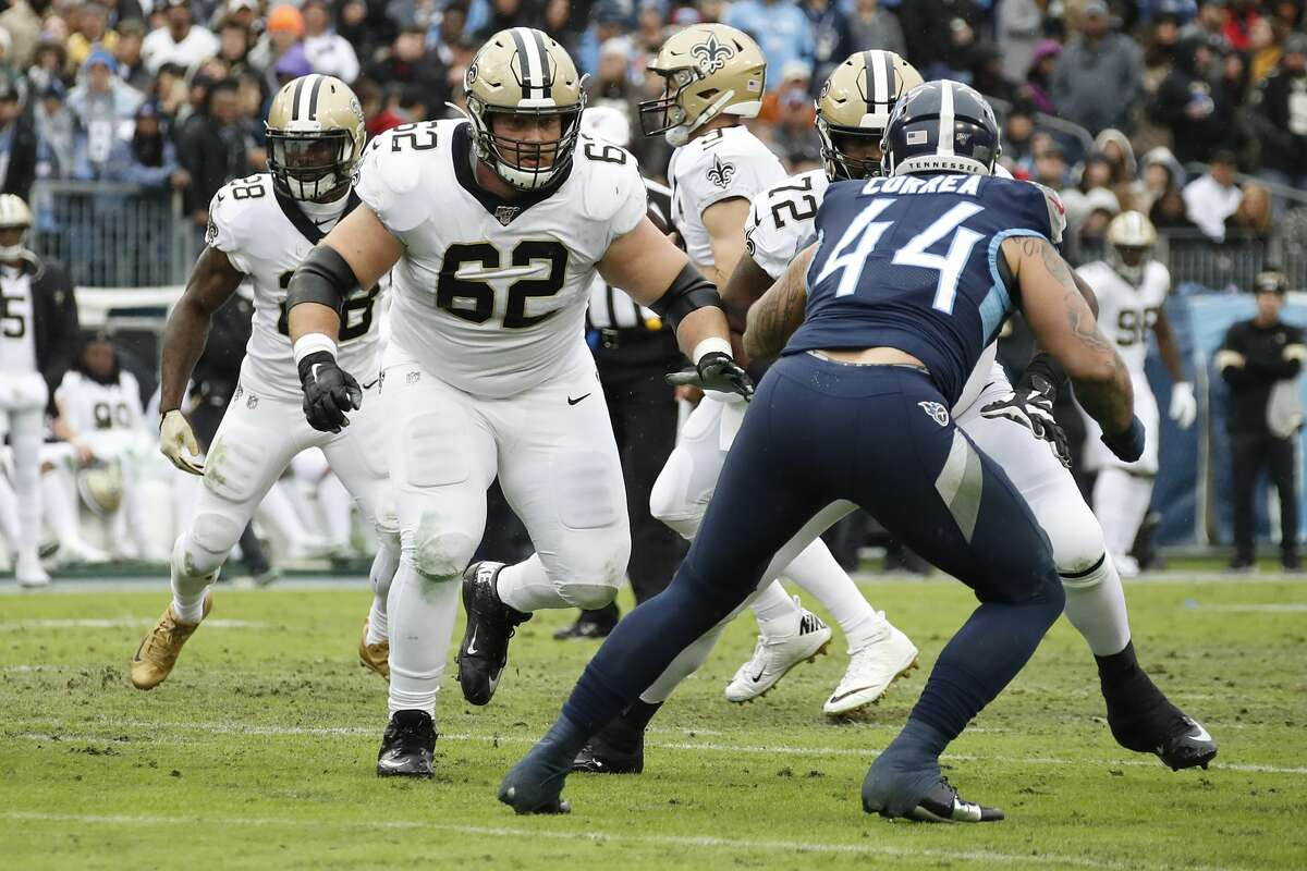 Nick Easton #62 of the New Orleans Saints plays against the Tennessee Titans at Nissan Stadium on December 22, 2019 in Nashville, Tennessee. (Photo by Frederick Breedon/Getty Images)
