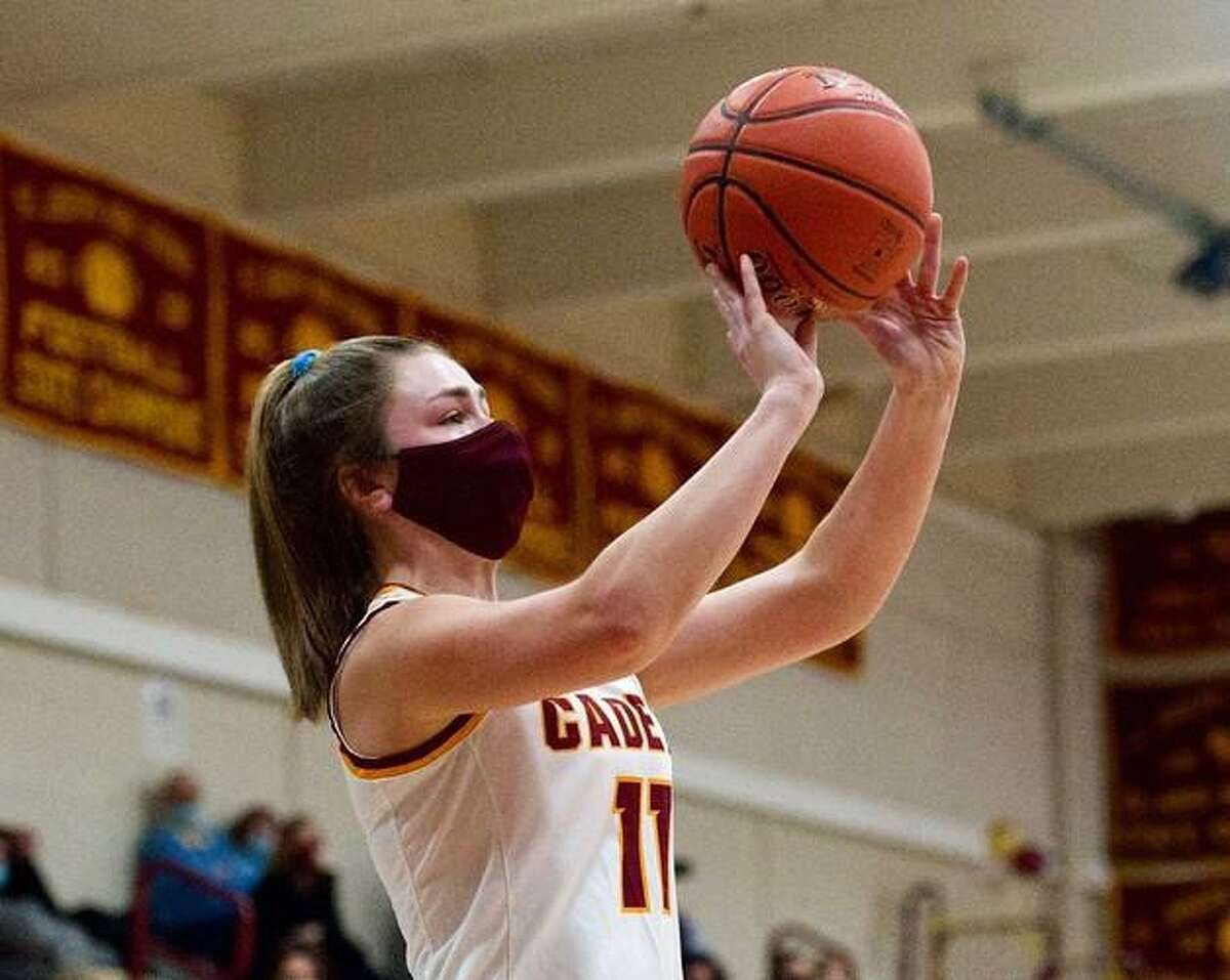 Erin Parchinski shoots the ball in St. Joseph's round of 16 victory over Greenwich.