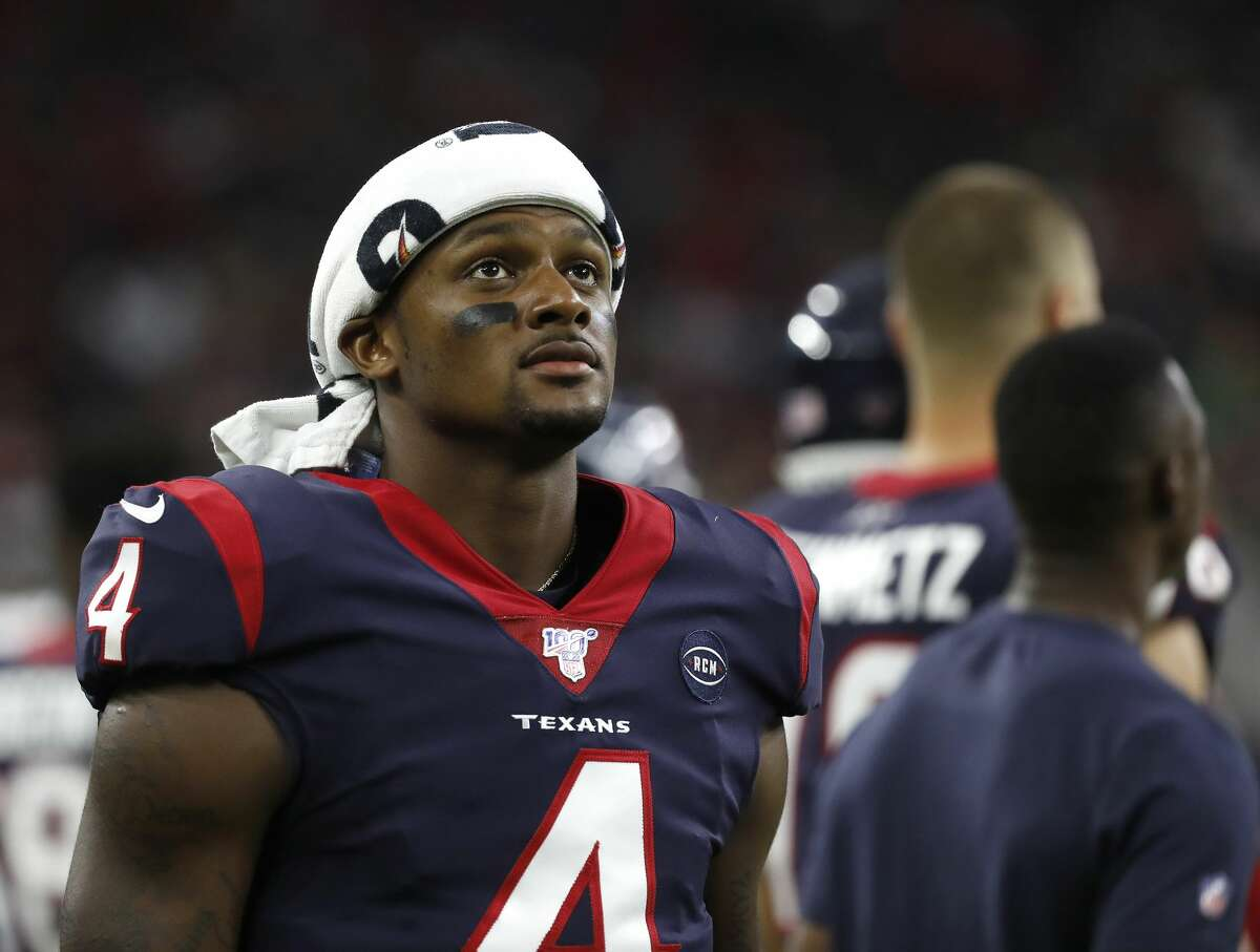 Houston Texans quarterback Deshaun Watson (4) on the sideline during the first quarter of an NFL football game at NRG Stadium, Saturday, August 17, 2019.